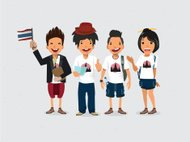 Guide and Tourists. thailand - vector illustration