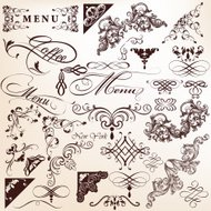 Collection of vector vintage calligraphic elements for design