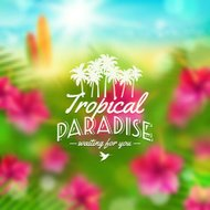 Type design - summers greeting against a tropical flora backgrou