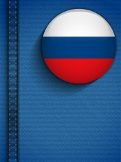 Russia Flag Button in Jeans Pocket