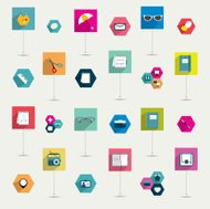 Set of colorful modern flat long shadows icon. Infographic set.