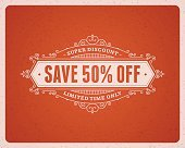 Window advertising sale 50% off decals graphics