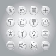 Superlight Transparent Glass Interface Icon Set
