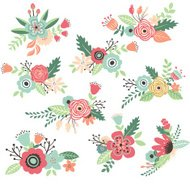 Vintage Hand Drawn Flowers Set - Illustration