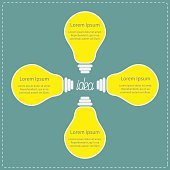 Four yellow light bulb. Idea concept. Business infographic.