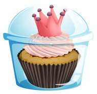 Cupcake with a crown inside the disposable container