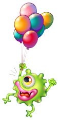 Monster with colourful balloons