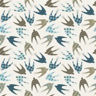 Seamless pattern with ornamental swallows.