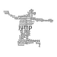 Jumping people silhouette made with words