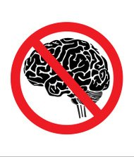 No thinking sign with brain