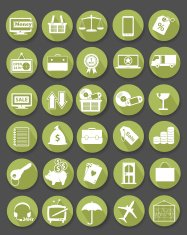 Shopping icon set,Flat icons,Green version,vector