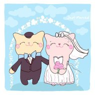 Wedding invitation card with cute cats.