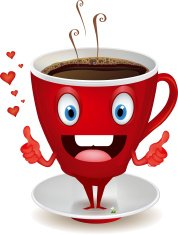 Cartoon illustration of a coffee cup mascot character talking