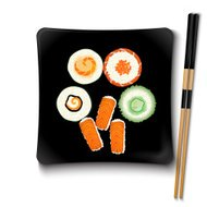 Japanese seafood sushi on a black square plate