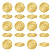 Collection Set of Gold Dollar Coins – Illustration
