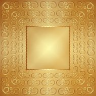 Vector abstract wide metal gold frame with ornament