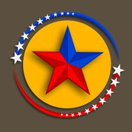 Yellow sticky design with glossy red and blue star.
