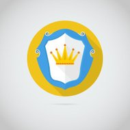 Flat vector icon with golden crown