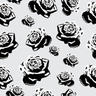 Seamless black-and-white flowers roses pattern for background