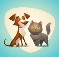 Personnages de chat et de chien. Cartoon style vector illustration.