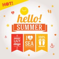 Hello summer labels set with symbols for poster, flags, t-shirts