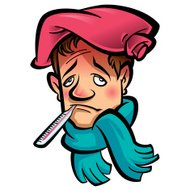 Cartoon sick man head with thermometer scarf and ice bag