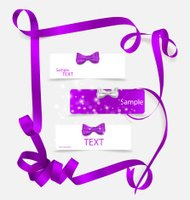 Set of card notes with beautiful gift bows and ribbons.