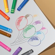 Colorful crayons, draw balloon