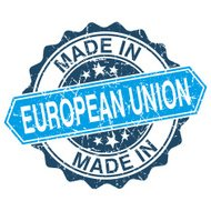 made in European Union vintage stamp isolated on white backgroun