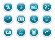 Finance Icons Glass Blue