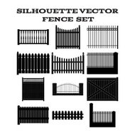 SILHOUETTE VECTOR  FENCE  SET