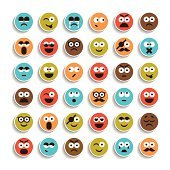 Set of emotion smiling faces icons