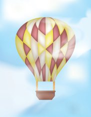 Hot Air Balloon with Colored Radial Motifs