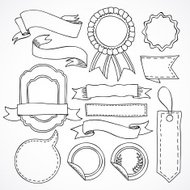 Vector set of hand drawn ribbons and labels design elements