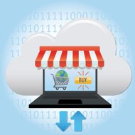 cloud computing with eCommerce laptop