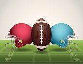 Vector American Football Field, Ball, and Helmets