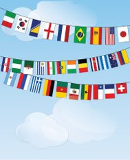 Flags of the World bunting on cloud