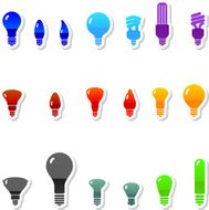 Light bulb royalty free vector icon set in nine colors