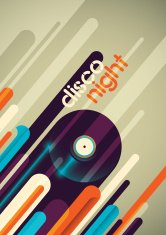 Abstract disco night poster design.