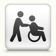 Square Button with Wheelchair Caregiver royalty free vector art
