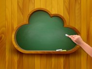 Chalkboard in shape of a cloud. E-learning concept. Vector.
