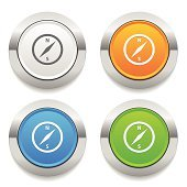 Four color round button with compas icon and metallic border
