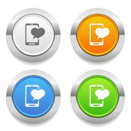 Four color square button with love-message icon and metallic bor