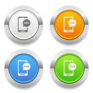 Four color square button with message icon and metallic border