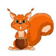 Cute vector character squirrel with nuts