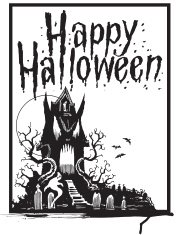 Haunted House with Ghosts and Graveyard - Happy Halloween