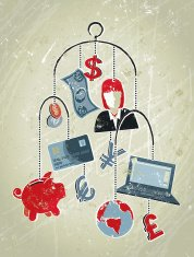 Businesswoman, Money Symbols and Laptop. Mobile Banking
