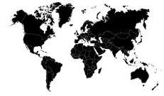 detailed outline world map by countries