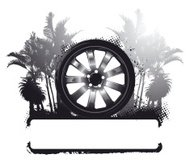 racing tire with palms background and banner