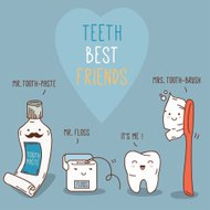 Teeth best friends - tooth-past, tooth-brush and floss.